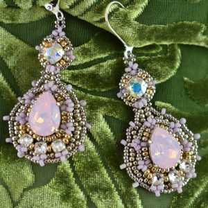pretty posh earrings kit MGS Designs beadwork rosewater opal colorway