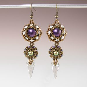 Straight to the Point Earrings Purple and Bronze